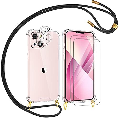YIRSUR Funda con Cuerda Compatible con iPhone 13, con 2 Pack Cristal Templado y 2 Pack Protector de Lente de Cámara, Carcasa Transparente con Colgante Ajustable Correa de Cuello Cordón Negro