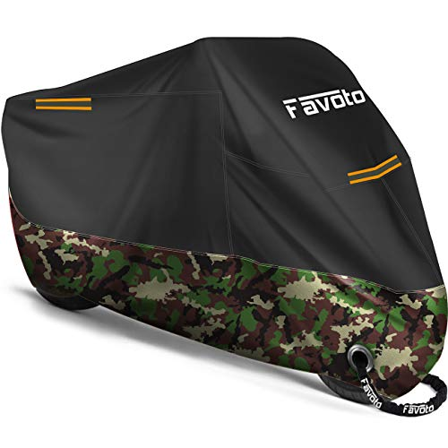 Favoto Funda para Moto Cubierta de la Moto 210D Impermeable Protectora con Banda Reflectante a Prueba de Sol Lluvia Polvo Viento Nieve Excremento de Pájaro al Aire Libre, 245x105x125cm Negro+Camuflaje