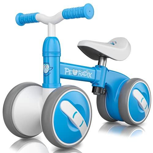 Peradix Bicicleta Sin Pedales para Niños y Niñas,Bici Sin Pedales de Manillar y Sillín Ajustables para Niño 1-3 Año Juguetes Equilibrio Triciclos Bebes,Correpasillos Bebe 1 año (Azul)