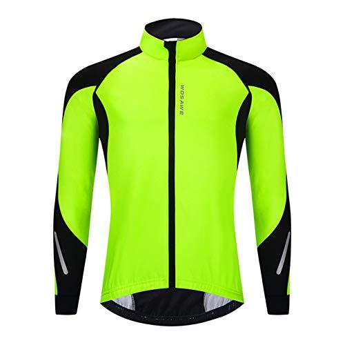 GRTE Ropa de Ciclismo para Hombres Camiseta de Manga Larga para Ciclistas Chaqueta de otoño e Invierno Chaqueta térmica Polar Ligera BTT Carreras de Bicicleta de montaña Frío Wear,Verde,L