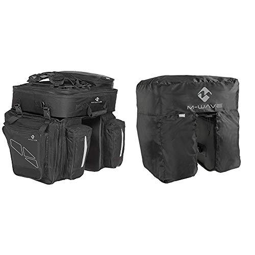 M-Wave Traveller - Alforjas para portaequipajes de Bicicleta 3 Compartimentos, 62 L, Color Negro y Gris. 4 kg + Amsterdam Protect - Cubierta Impermeable, Color Negro