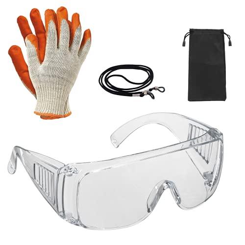 Gafas de seguridad y trabajo, para la protección de tus ojos en el ámbito sanitario, industrial y agrícola   Gafas de seguridad anti vaho icluye guantes,funda y correa de sujección.