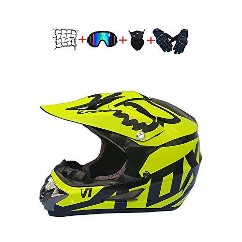 BHGJ Casco Motocross Niño,Diseñado con FOX Cascos De Motocross Cascos de Cross de Moto Set con Gafas/Máscara/Guantes(FOX,amarillo) (L)