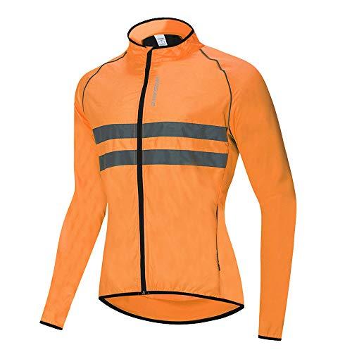 WOSAWE Hombres Ciclismo Chaquetas Impermeable Chaleco Ligero Motocicleta Viento Reflectante Abrigo Correr Montañismo Ropa Deportiva(215 Naranja M)