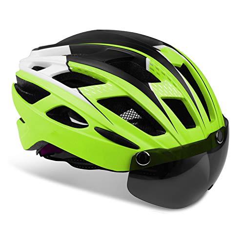 KINGLEAD Casco de Bicicleta Hombre Mujeres con Luz LED con Visera Desmontable para Carreras de Ciclismo Adultos Skateboarding Ajustable con Certificado CE para Montaña BMX Road KL-19