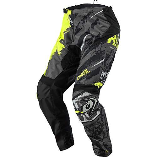 O'Neal | Pantalones de Motocross | Bicicleta de Montaña MX | Ajuste para un máximo Rango de Movimiento, Transpirable y Duradero | Pantalones Element Ride | Adulto | Negro Amarillo Neón | Talla 40/56