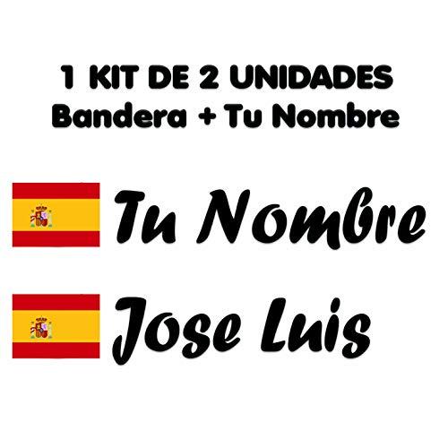 Pegatina Vinilo Bandera España + tu Nombre - Bici, Casco, Pala De Padel, Monopatin, Coche, Moto, etc. Kit de Dos Vinilos (Pack Fuentes 2)