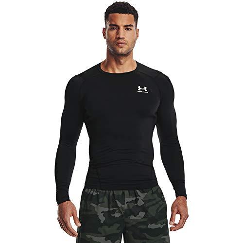 Under Armour UA HG Armour Comp LS, Camiseta de Manga Larga Hombre, Black/White, L*