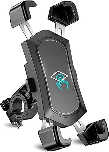 Soporte Movil Bicicleta Desmontable, 360° Rotación Soporte Movil Moto, Acero Inoxidable Anti Vibración Soporte Movil Bici Compatible con iPhone 13/12/11, Samsung S20 Ultra y Otro 4.5-7.2' Móvil