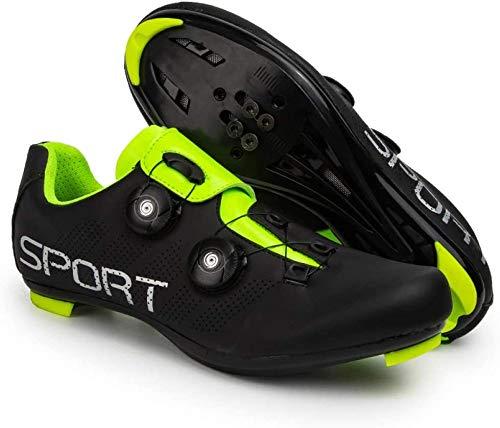 KUXUAN Zapatillas de Ciclismo Zapatillas de Ciclismo de Carretera para Hombre y Mujer - con Zapatillas de Bicicleta con Pedal SPD y Delta Lock,Black-41