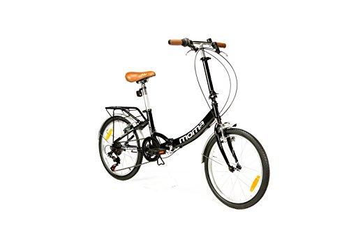 Moma Bikes Plegable Ruedas 20' Shimano. Aluminio Bicicleta, Unisex Adulto, Negro