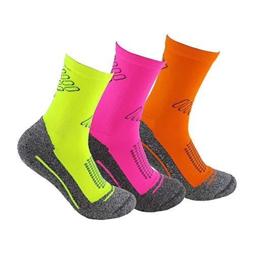 Calcetines deportivos (3 pares) SIN COSTURAS de alto rendimiento para hombre o mujer. Ideales para deportes como running, crossfit, ciclismo, pádel, trekking; Cómodos y resistentes. (Am/Ros/Na, 35-40)