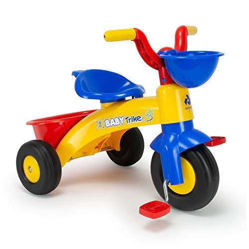 INJUSA - Triciclo Trico Max Amarillo y Azul para Niños de 1 a 3 años con Cesta Delantera y Trasera, color, 12m+ (353)
