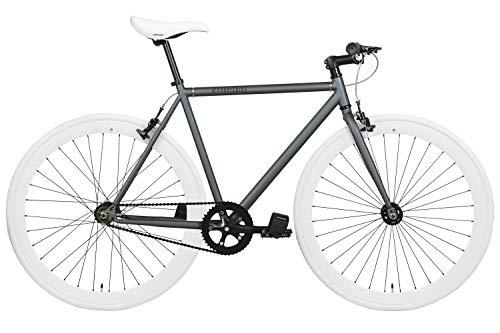 FabricBike- Bicicleta Fixie, piñon Fijo, Single Speed, Cuadro Hi-Ten Acero, 10,45 kg. (Talla M) (S-49cm, Graphite & White)