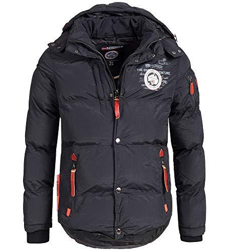 Geographical Norway - Chaqueta acolchada de invierno para hombre, con capucha (Negro, L)