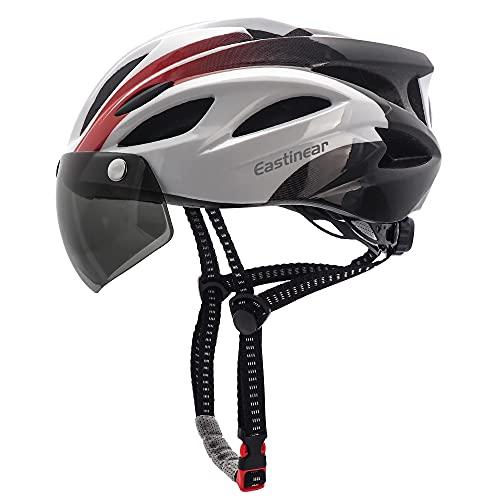 EASTINEAR Casco Bicicleta para Adultos con Gafas Hombre Mujer Casco Bicicleta con Luz de Seguridad...*