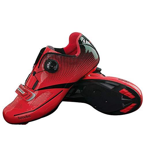 LNVRIDS Zapatilla de Ciclismo Profesional para Bicicleta de Carretera con Estilo de Encaje rápido giratoria-Rojo 44