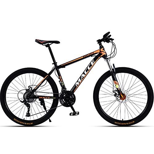 PBTRM 30 Velocidades Bicicleta Montaña 26 Pulgadas Mountainbike, Cuadro Acero Carbono, Horquilla Delantera con Suspensión, Freno Disco Doble, para Adultos Y Adolescentes,Naranja