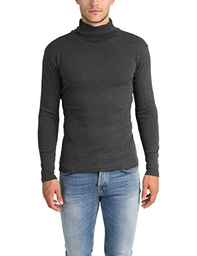 Lower East Camiseta con cuello alto Slim Fit para hombre, Antracita Mezcla, M
