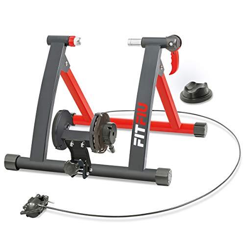 FITFIU Fitness ROB-10 - Rodillo Bicicleta plegable para entrenamiento indoor, con regulador de resistencia 6 niveles y soporte rueda, Rodillo bici compatible con ruedas de 26'' a 29''