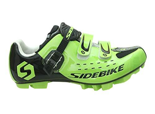 Zapatillas para ciclismo BTT, profesionales, transpirables, para hombre y mujer, compatibles con pedales SPD, Unisex adulto, Verde Negro 001, 42 EU