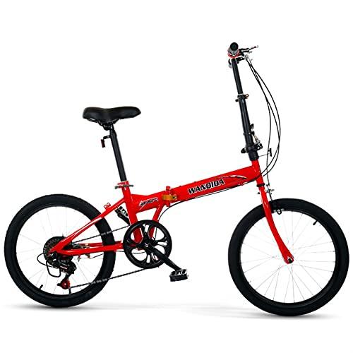 Bicicletas de ocio plegables para hombres y mujeres, adultos, estudiantes, ultraligeras, portátiles, de 16 pulgadas, 50 cm, plegables, de velocidad variable, color rojo, tamaño: 20 pulgadas)