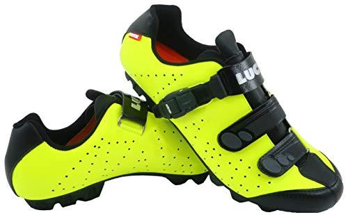 LUCK Zapatillas de Ciclismo MTB ODÍN con Suela de Carbono y Cierre milimétrico de precisión. (46 EU, Amarillo)