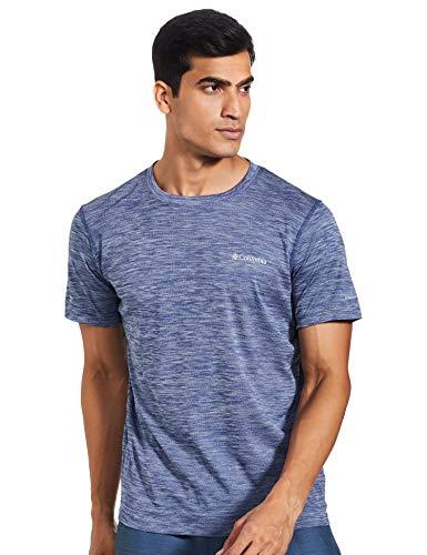 Columbia Zero Rules, Camiseta de manga corta, Hombre, Azul (Carbon Heather), Talla S
