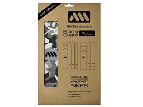 All Mountain Style AMSFG5CLCM Protector de Cuadro Full – Protege tu Bicicleta de Las rayadas y Golpes, Transparente/Camo posibles arañazos, Adultos Unisex