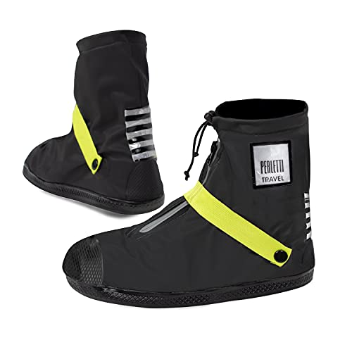 Cubrezapatos Impermeables Negros Bajos - Cubrezapatillas Reflectantes Antideslizantes - Galochas Lluvia Cierre Cordón - Protectores Zapatos Resistentes Reutilizables - Perletti (Verde Lima, L (43/45))
