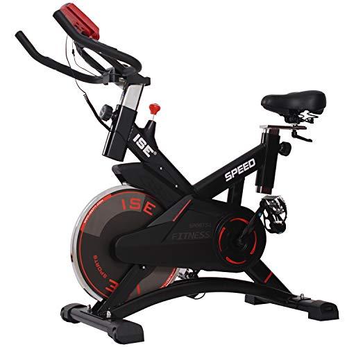 ISE Bicicleta Estática de Spinning Profesional con Sensor de Pulso,Ajustable Resistencia, Pantalla,...*
