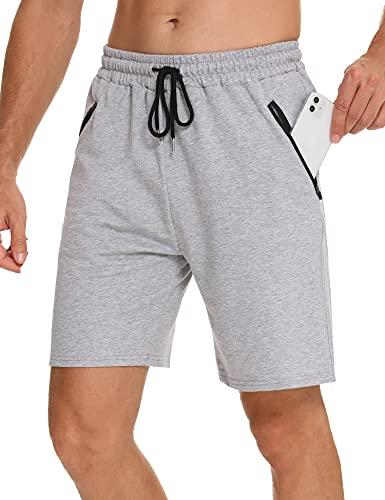 Wayleb Pantalones Cortos Deportivos Hombre Verano Algodón Bermuda Shorts Deporte Bolsillo con Cremallera Cordón Elástico Running Correr Fútbol,Gris,XL