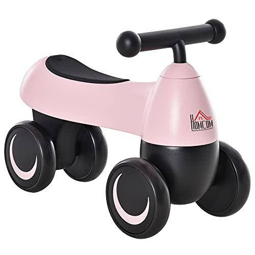 HOMCOM Correpasillos de Equilibrio para Niños Bicicleta sin Pedales Bebés de +18 Meses con 4 Ruedas y Manillar Aspecto Lindo Regalo de Cumpleaños 54x26x38 cm Rosa