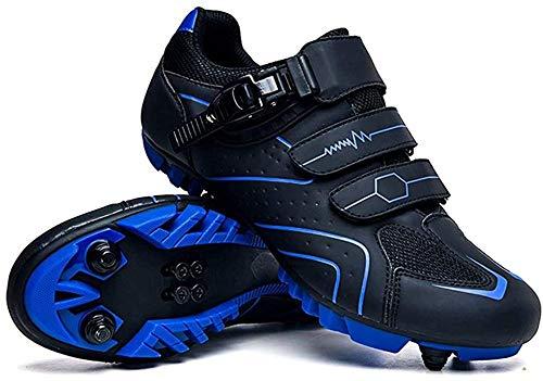 KUXUAN Zapatillas de Ciclismo Zapatillas de Ciclismo de Montaña MTB para Hombre con Candados,Calzado Deportivo de Invierno para Hombre y Mujer/Suelas-Nailon,Blue-43EU