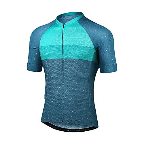 INBIKE MaillotCiclismo Hombre Camiseta Manga Corta Verano Bicicleta Carretera Azul Simple Elegante, L Azul&Verde