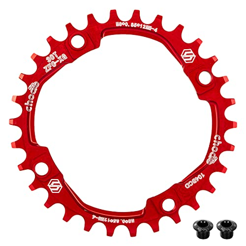 EASTERN POWER Plato 30 Dientes BCD 104, Plato BCD 104 Bicicleta Montaña, Aluminio Monoplato 30 Dientes MTB, Rojo(Incluye 4 Tornillos Plato)