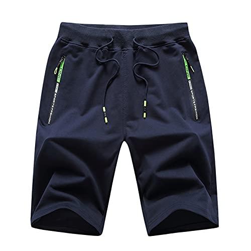 Leezepro Pantalones Cortos Deportivos de Algodón Hombre Pantalón para Correr con Bolsillo con Cremallera Shorts Bermudas Deportivos Verde Fluorescente Verano (S, Azul)