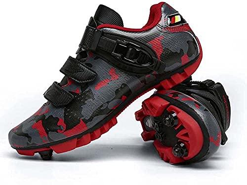 Zapatillas de Ciclismo MTB Para Hombre Zapatillas de Bicicleta de Montaña SPD Zapatillas de Bicicleta de Carretera Zapatillas de Ciclismo Transpirables Para Exteriores Compatibles con Tacos SPD,Red-42