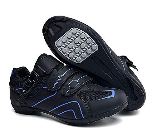 tangjiu Zapatillas de Ciclismo Antideslizantes, Zapatillas de Bicicleta de Carretera y Montaña de Fibra de Carbono Transpirables, Zapatillas Deportivas Asistidas con Tiras Reflectantes (Azul,42)