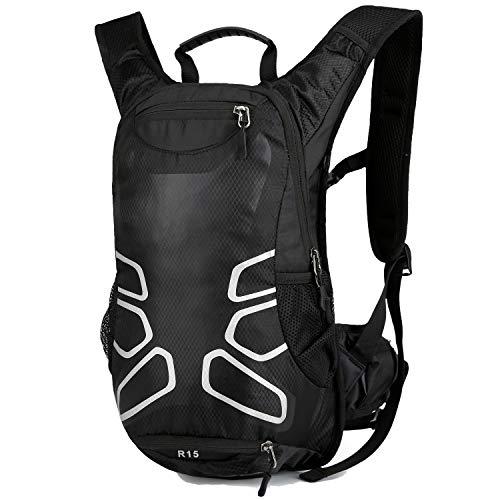 RUI NUO Mochila de ciclismo impermeable, Mochila de bicicleta plegable, transpirable y liviana, paquete de hidratación con bolsillo en la cintura para deportes al aire libre, montañismo que viaja 15L