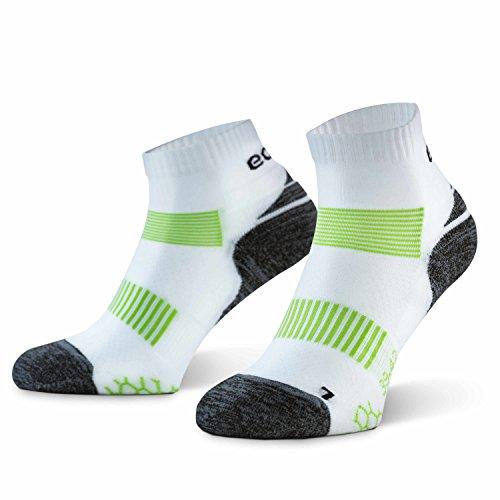Amazon Brand - Eono - Calcetines Deportivos De Running (3-Pack), Hombre y Mujer, Calcetines Para Fitness, Running, Jogging, Triatlón, Color: Blanco-Verde, Talla: UK 6-8, EU 39-42