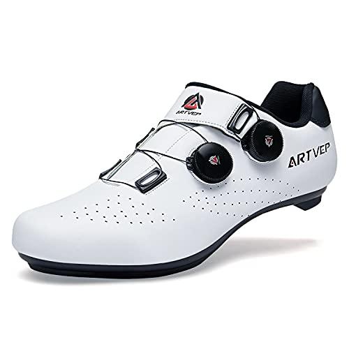 Zapatillas de Ciclismo para Hombre Zapatillas de Bicicleta de Carretera para Mujer compatibles con Look SPD SPD-SL Delta Cleats Zapatillas de Spinning para Interiores Exteriores Blanco275