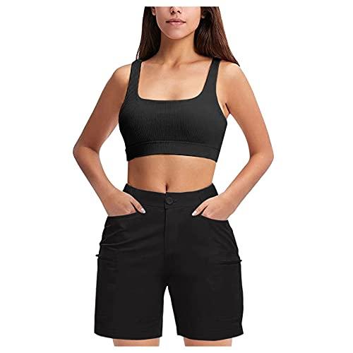 Mujeres Verano Exterior Deporte Pantalones Cortos Casuales con Bolsillos, Deportivos para Mujer De Yoga Correr Gimnasio Fitness EláSticos CóModos Pantalones Cortos de Verano y Playa
