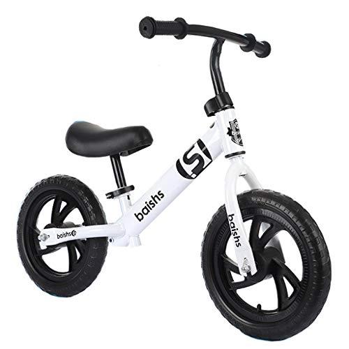 Bicicleta sin pedales Bici Bicicleta de Equilibrio con neumáticos neumáticos de 12 Pulgadas - Mini Metal Early Rider Push Bike, Negro/Azul/Rojo/Blanco/Amarillo (Color : Blanco)