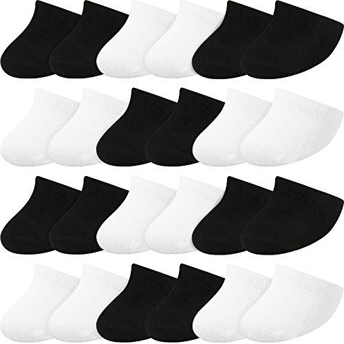 SATINIOR 12 Pares de Calcetines Invisibles de Mitad Calcetines de Puntera Antideslizantes para Mujeres (Negro, Blanco)