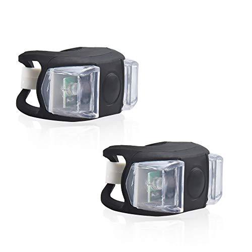 Luxvista Luces de Bicicleta LED Sets, Luces Delanteras y Traseras de Silicona Impermeables con 2 Baterías, por Ciclismo Nocturno (Blanco Frío 6000K, 2-Unidades)