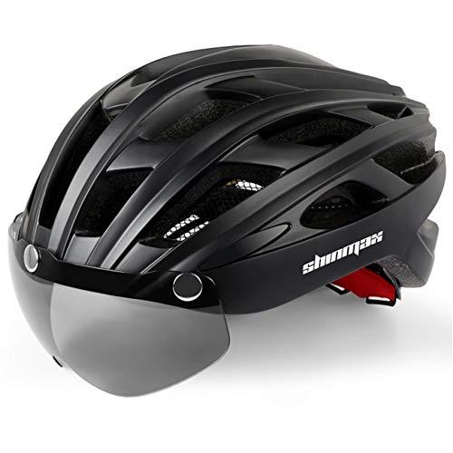 Casco bicicleta/Casco Bicic con luz,Certificado CE, casco bicicleta adulto con Visera Magnética...*