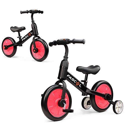 Fascol 3 en 1 Triciclos Bebés para Niños 2-6 Años, Triciclo para Bebés con Pedales Desmonetables y Ruedas Auxiliares, Diseño de Asiento Elevador para Ajustar Alturas, Rosa