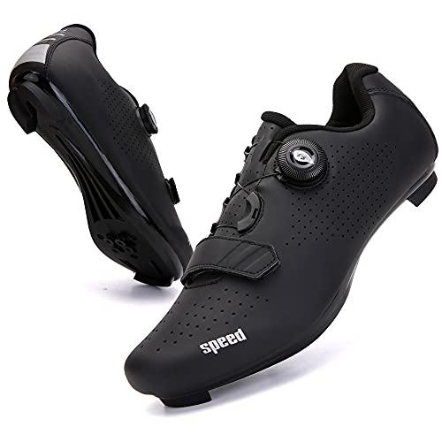 KUXUAN Zapatillas de Ciclismo para Hombre Zapatillas de Bicicleta de Carretera para Mujer con SPD,Zapatos Peloton Unisex con Hebilla Delta Compatibles,Black-5UK=(240mm)=38EU