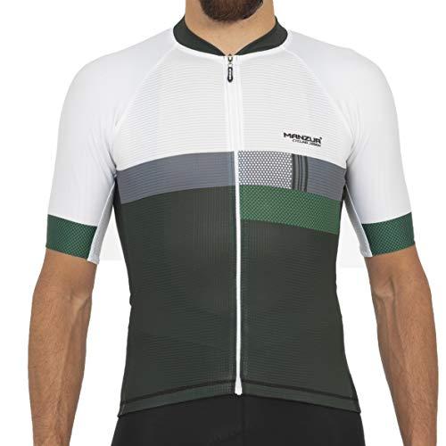 Manzur Cycling Design Maillot Pro Ciclismo // Tecnología Última Generación SANITAZED // Tejido Italiano Especializado en Aerodinámica Deportiva (632, S)
